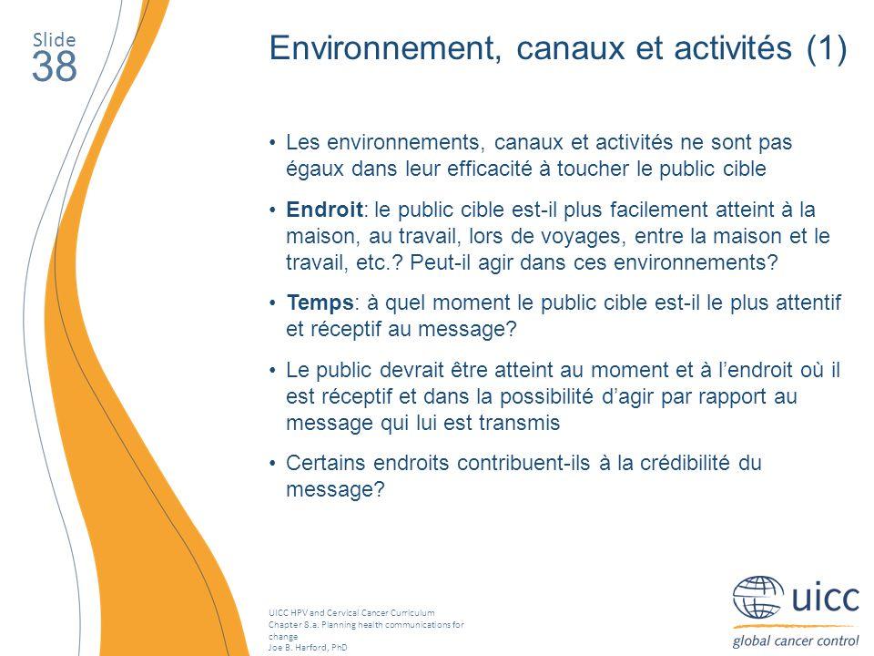 38 Environnement, canaux et activités (1) Slide