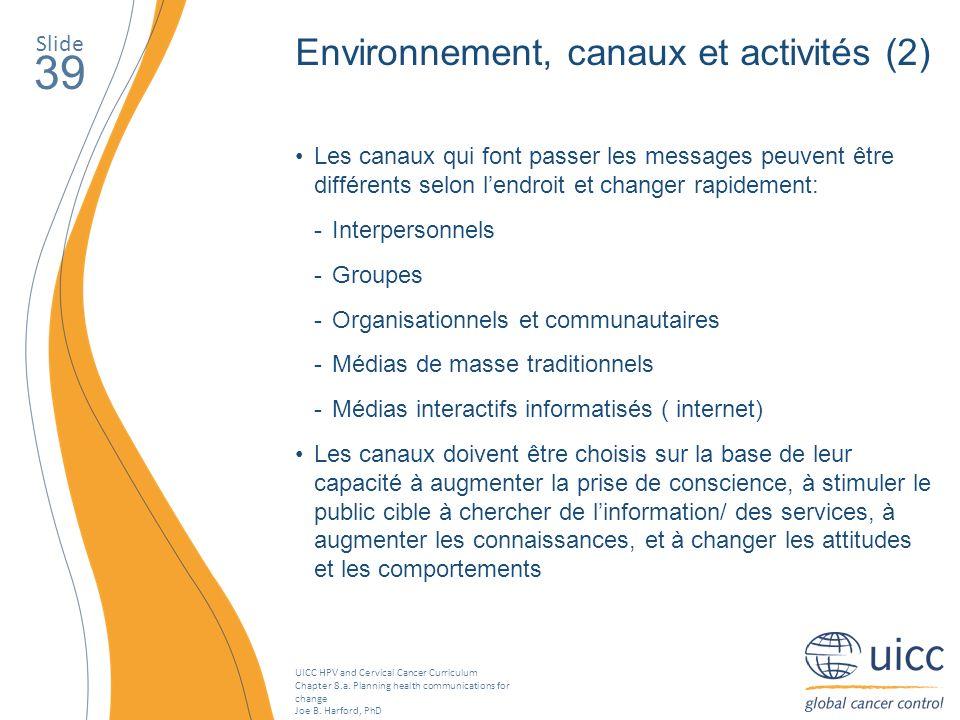 39 Environnement, canaux et activités (2) Slide