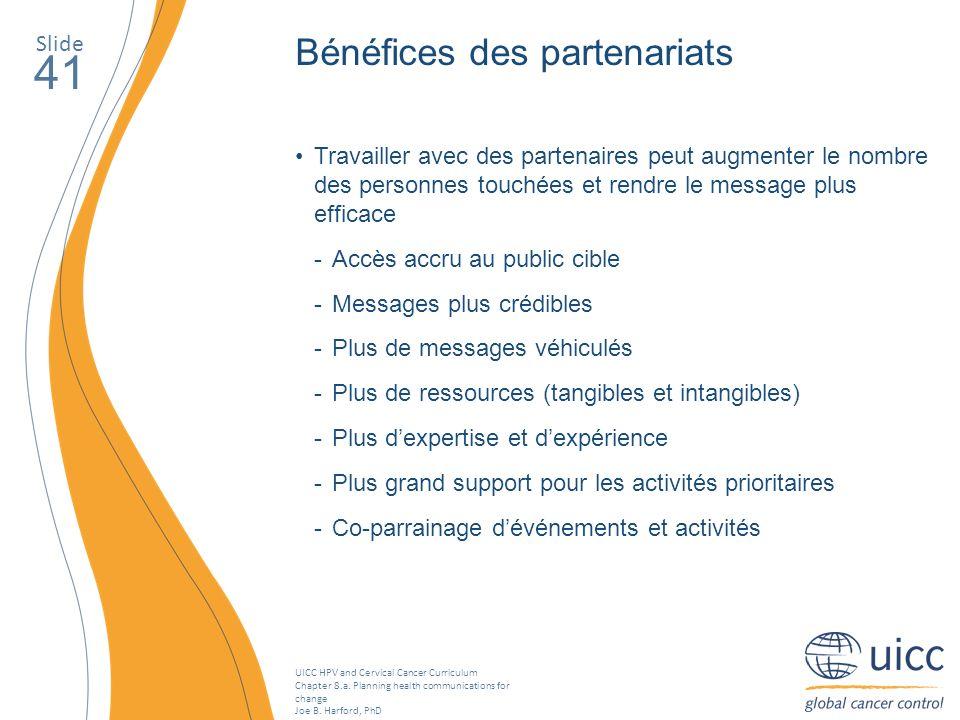 41 Bénéfices des partenariats Slide