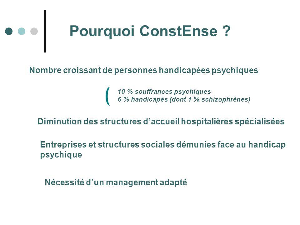 Pourquoi ConstEnse Nombre croissant de personnes handicapées psychiques. 10 % souffrances psychiques.