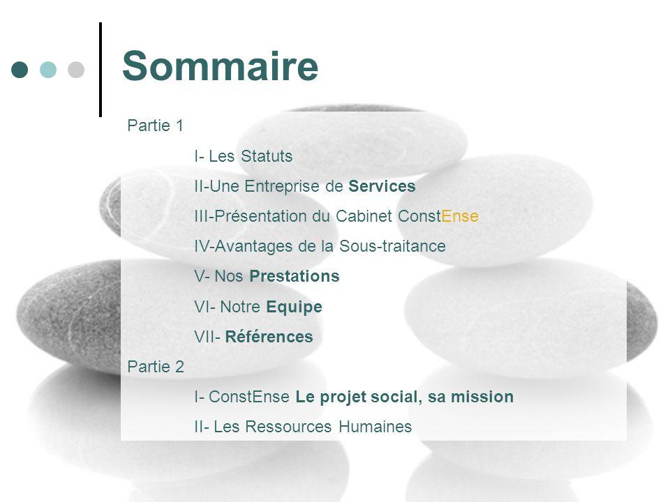 Sommaire Partie 1 I- Les Statuts II-Une Entreprise de Services