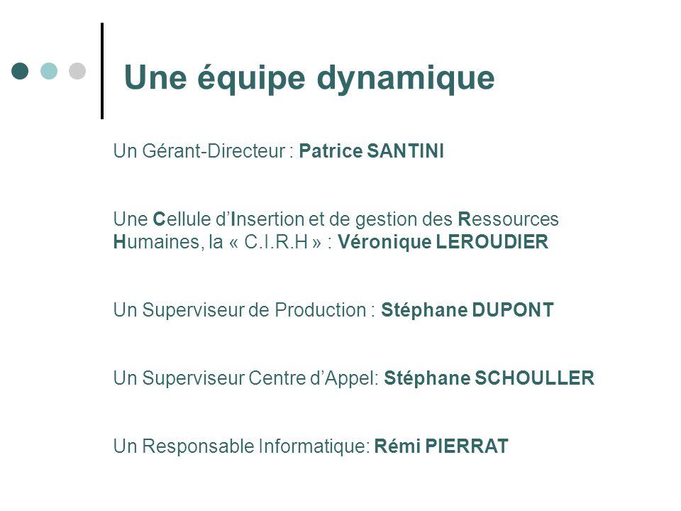 Une équipe dynamique Un Gérant-Directeur : Patrice SANTINI