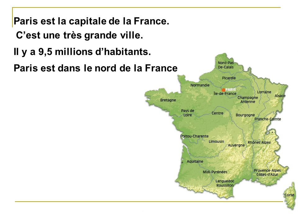 Paris est la capitale de la France.