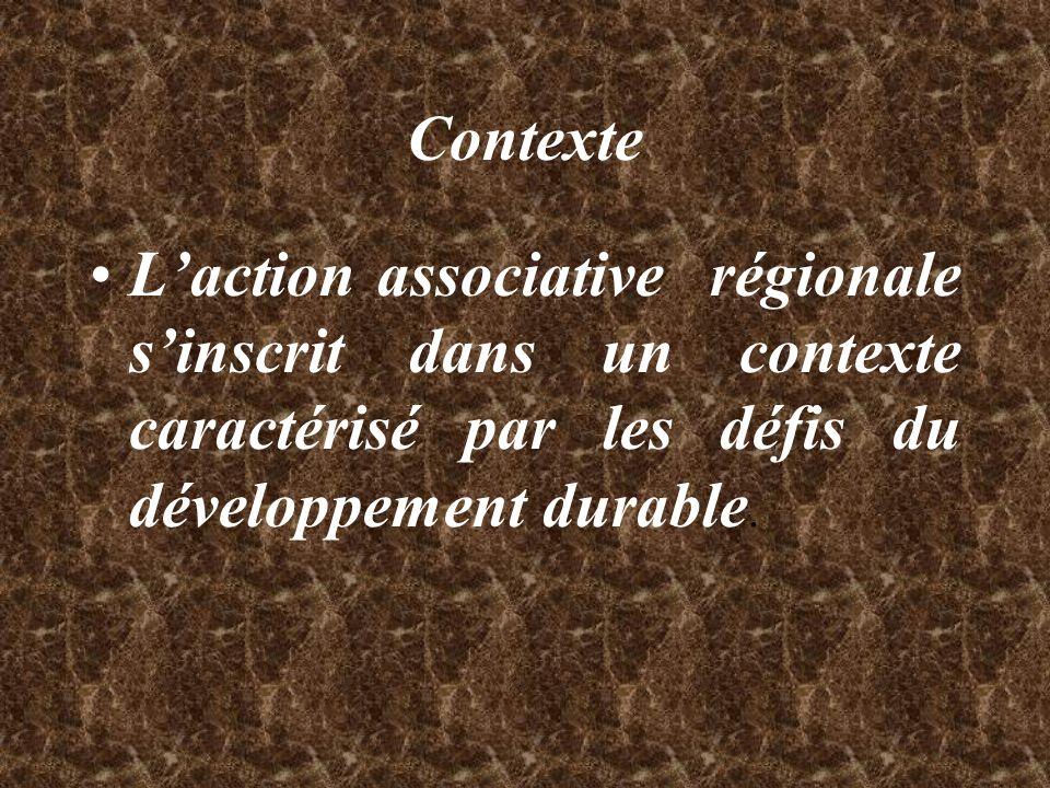 Contexte L'action associative régionale s'inscrit dans un contexte caractérisé par les défis du développement durable.