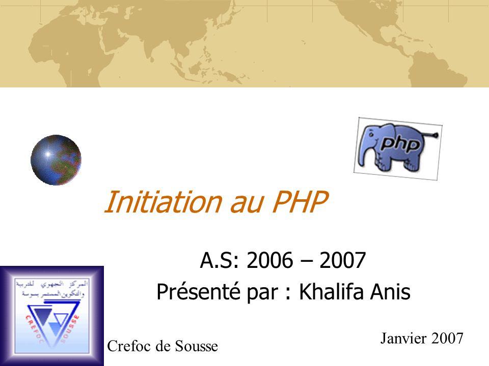 A.S: 2006 – 2007 Présenté par : Khalifa Anis