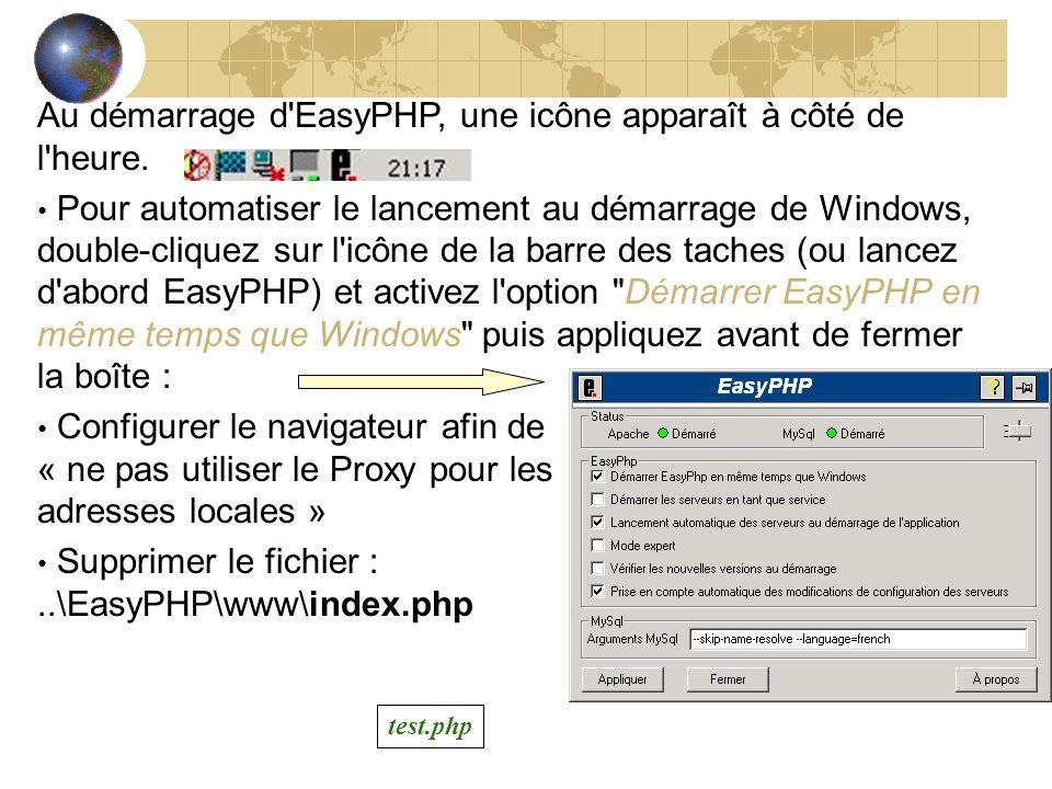 Au démarrage d EasyPHP, une icône apparaît à côté de l heure.