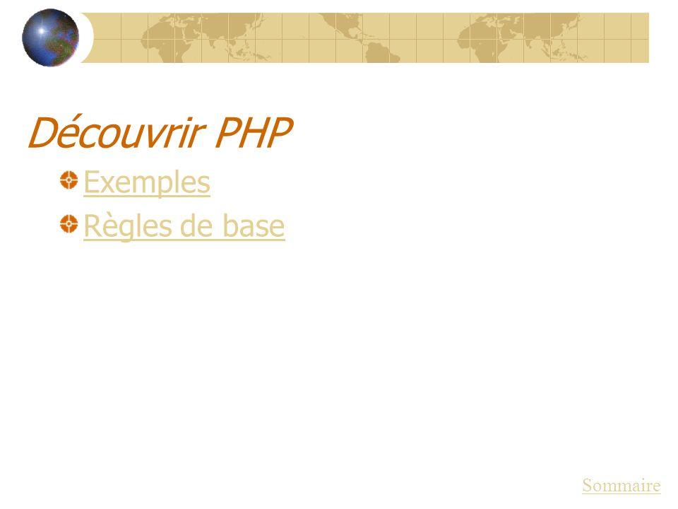 Découvrir PHP Exemples Règles de base Sommaire