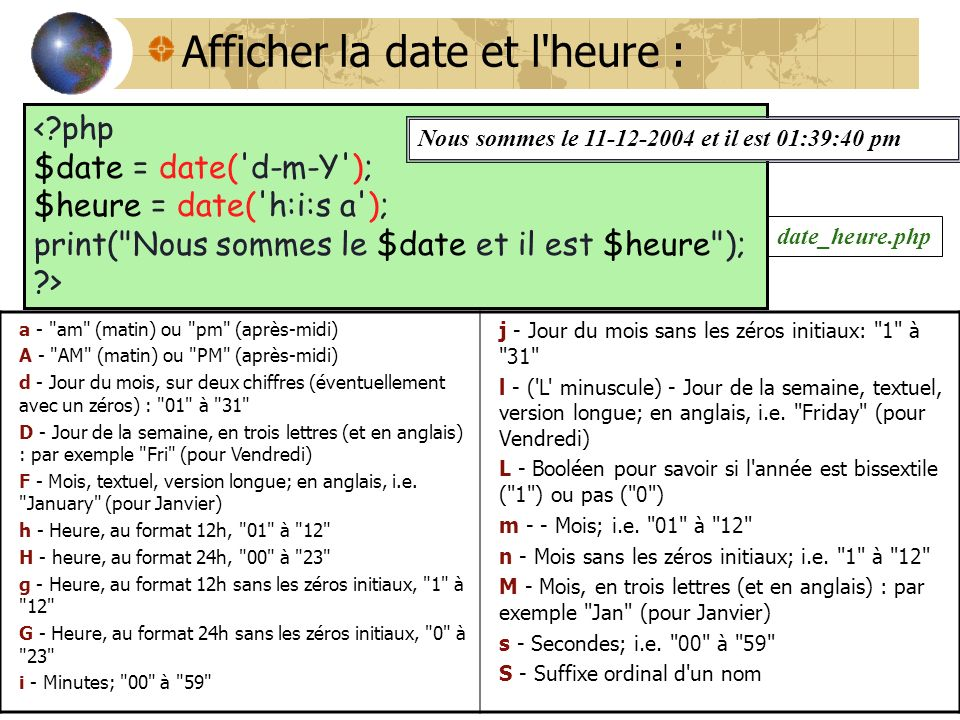 php date jour