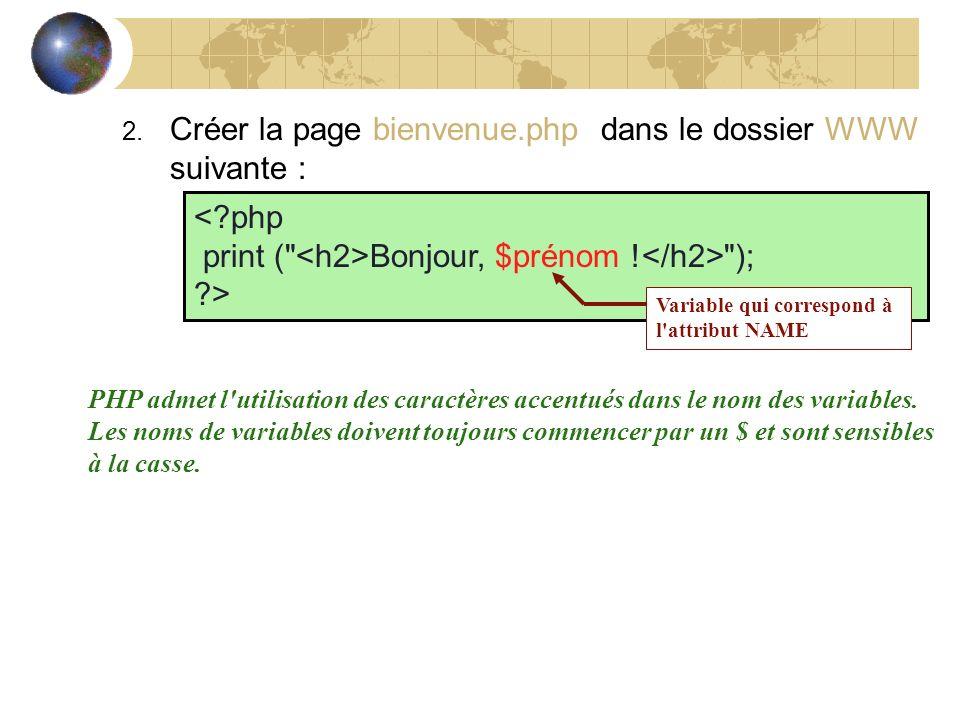 Créer la page bienvenue.php dans le dossier WWW suivante :