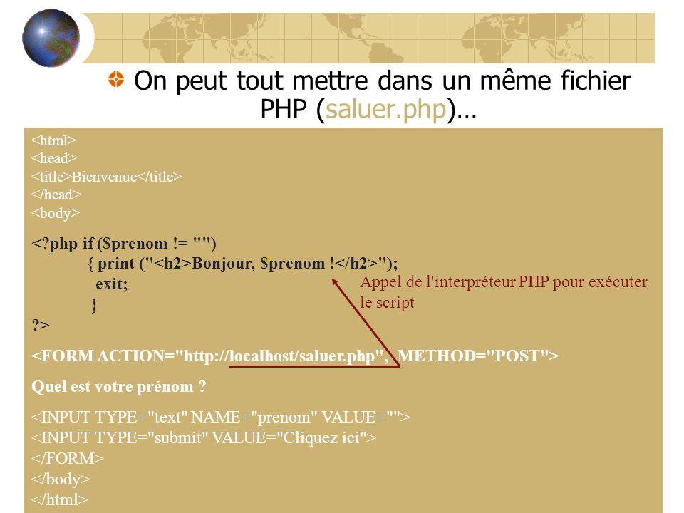 On peut tout mettre dans un même fichier PHP (saluer.php)…