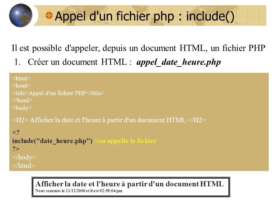 Appel d un fichier php : include()