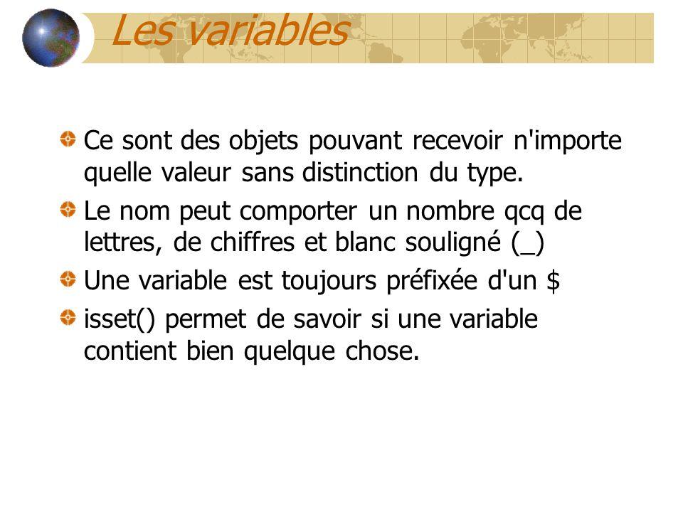 Les variables Ce sont des objets pouvant recevoir n importe quelle valeur sans distinction du type.