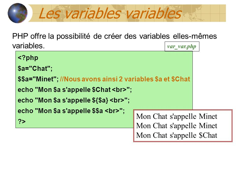 Les variables variables