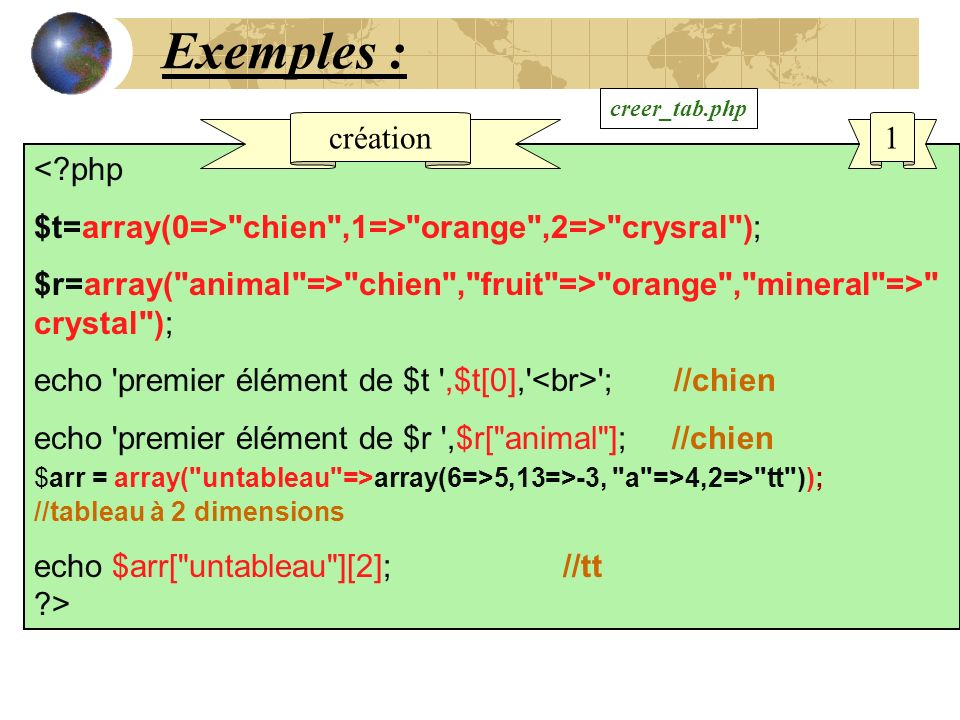 Exemples : création 1 < php