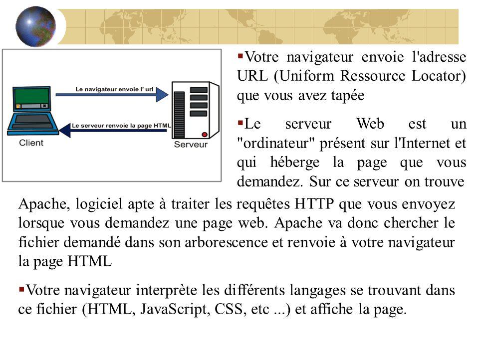 Votre navigateur envoie l adresse URL (Uniform Ressource Locator) que vous avez tapée