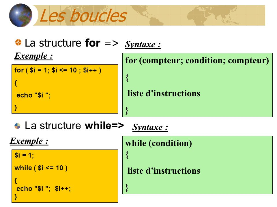 Les boucles La structure for => La structure while=> Syntaxe :
