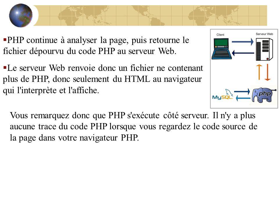 PHP continue à analyser la page, puis retourne le fichier dépourvu du code PHP au serveur Web.
