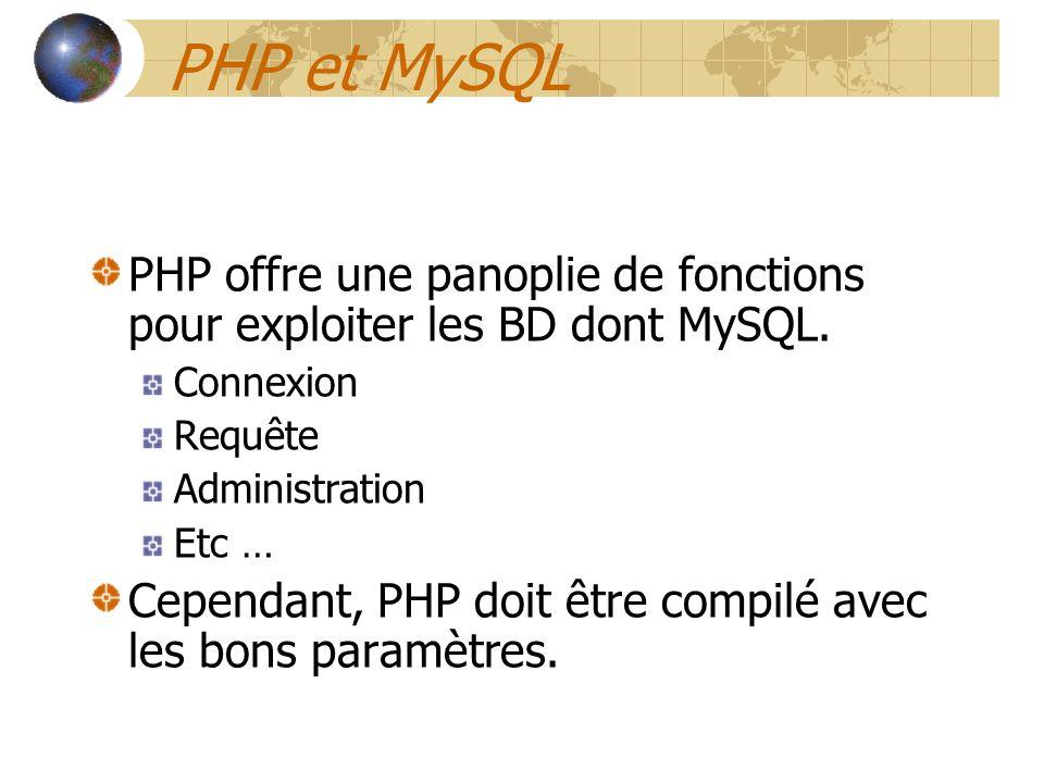 PHP et MySQL PHP offre une panoplie de fonctions pour exploiter les BD dont MySQL. Connexion. Requête.