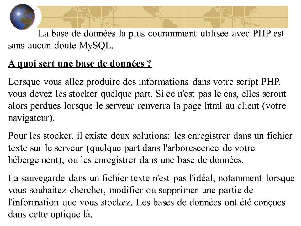 La base de données la plus couramment utilisée avec PHP est sans aucun doute MySQL.