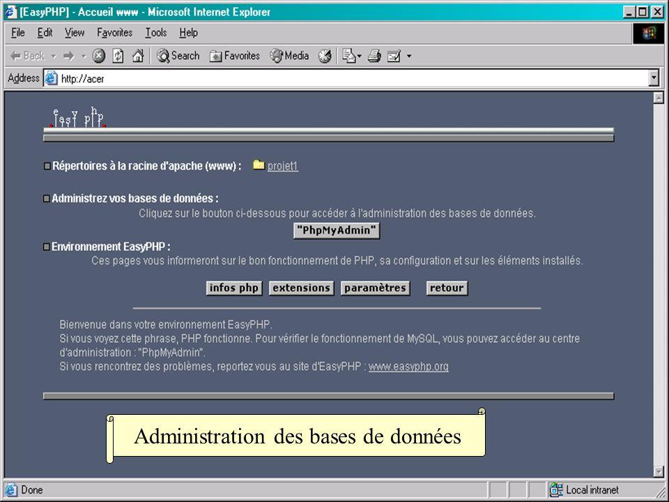Administration des bases de données