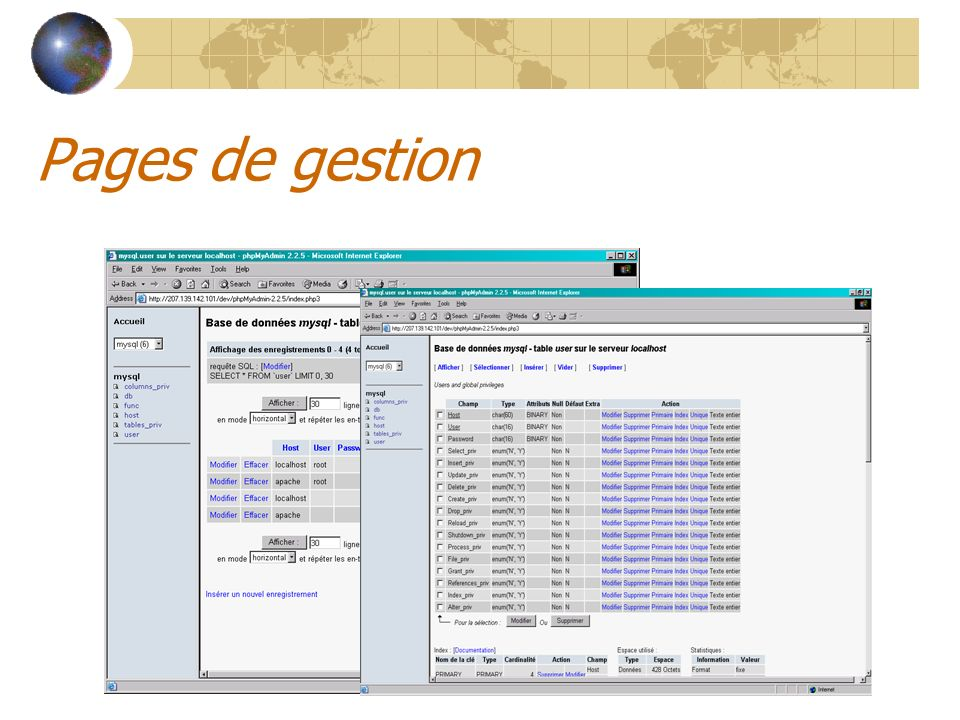 Pages de gestion