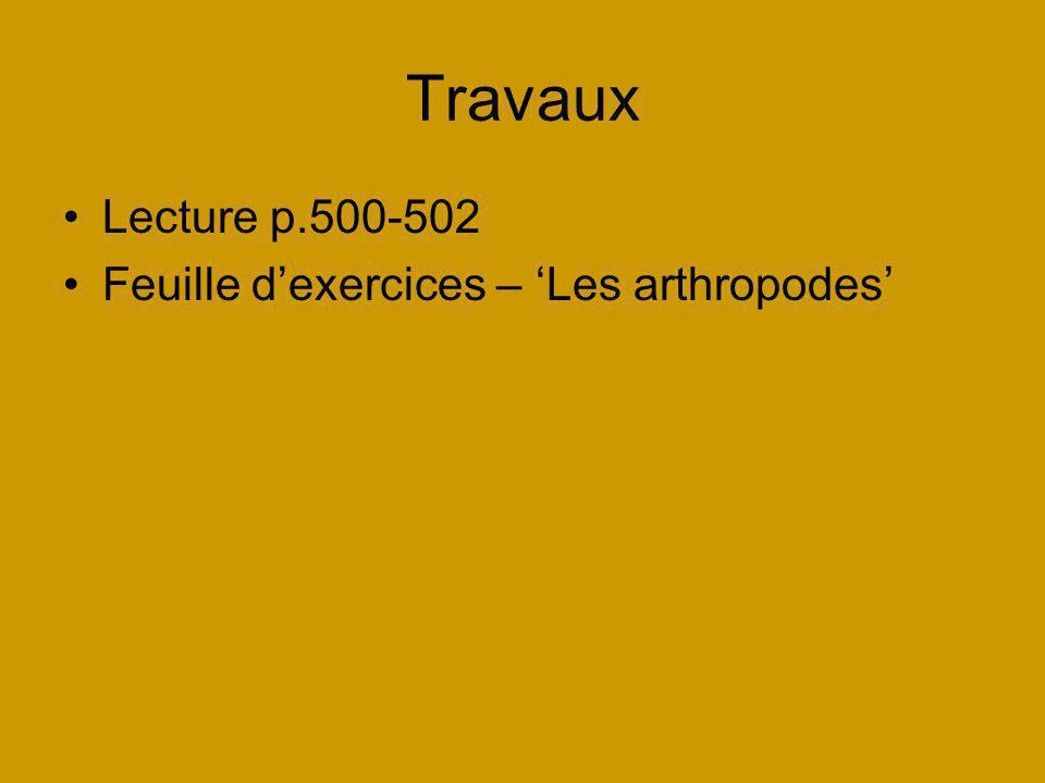 Travaux Lecture p.500-502 Feuille d'exercices – 'Les arthropodes'
