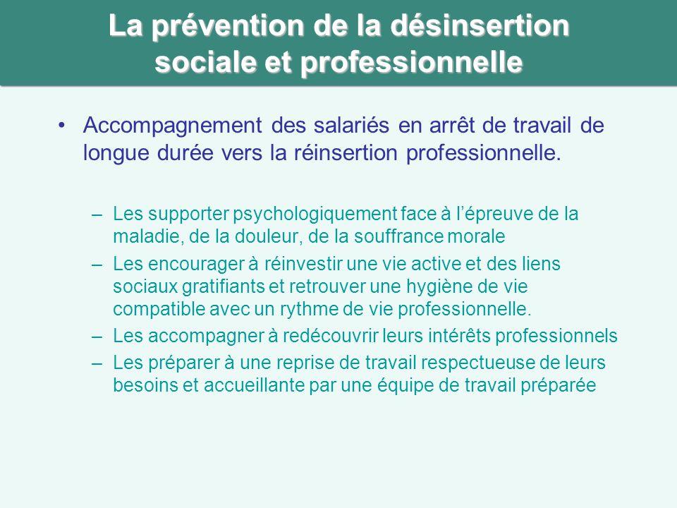 La prévention de la désinsertion sociale et professionnelle