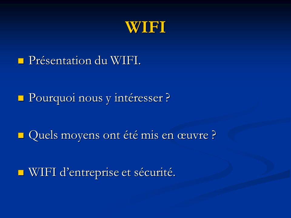 WIFI Présentation du WIFI. Pourquoi nous y intéresser