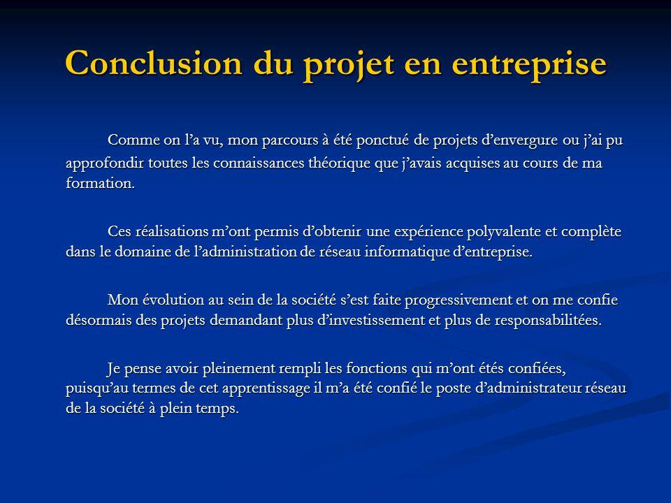 Conclusion du projet en entreprise
