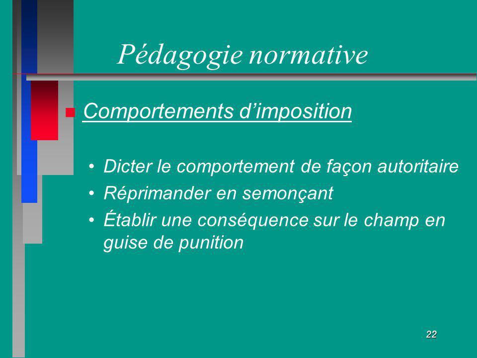 Pédagogie normative Comportements d'imposition