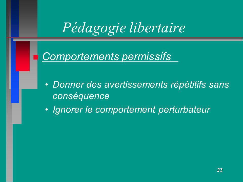 Pédagogie libertaire Comportements permissifs
