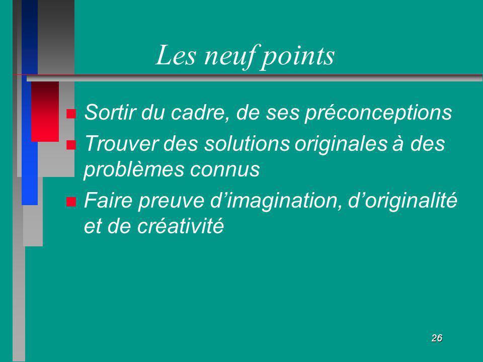 Les neuf points Sortir du cadre, de ses préconceptions