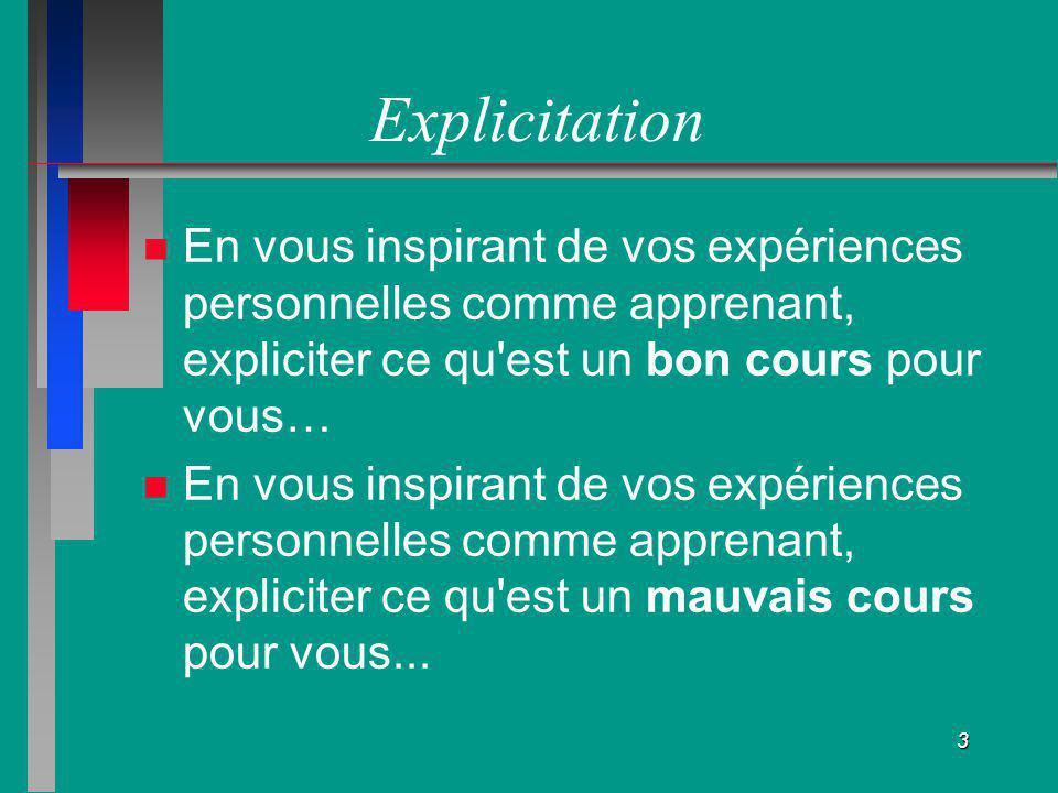 Explicitation En vous inspirant de vos expériences personnelles comme apprenant, expliciter ce qu est un bon cours pour vous…