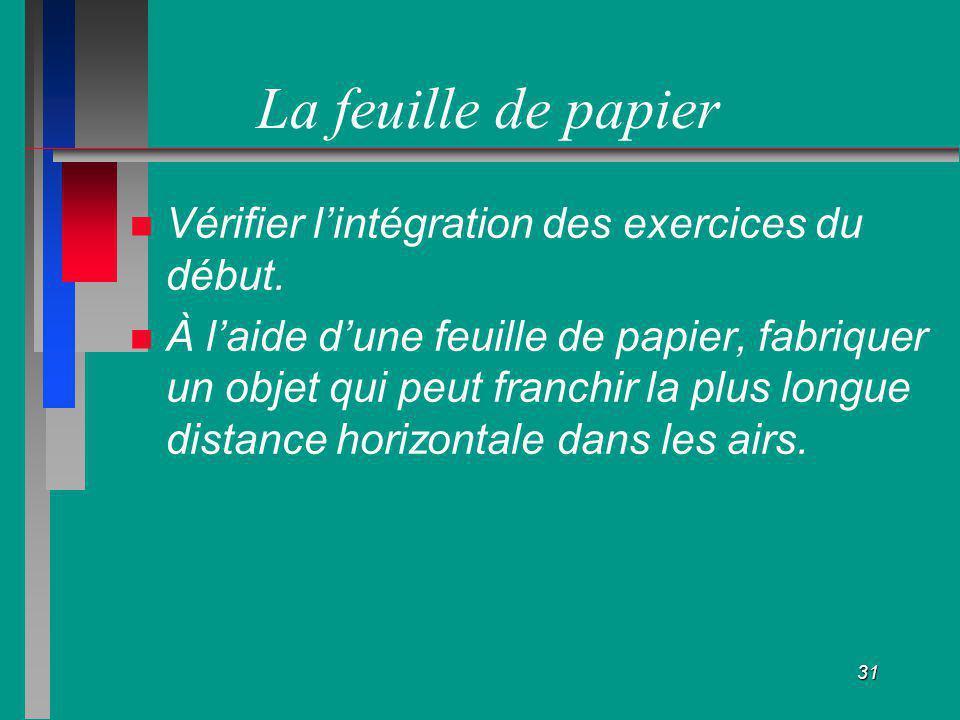 La feuille de papier Vérifier l'intégration des exercices du début.