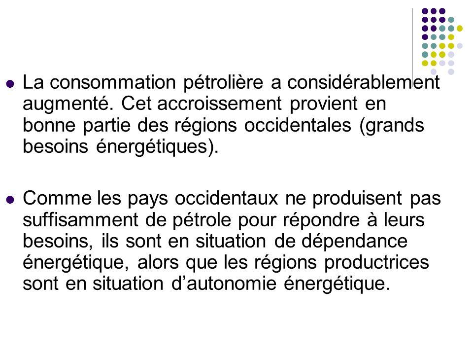 La consommation pétrolière a considérablement augmenté