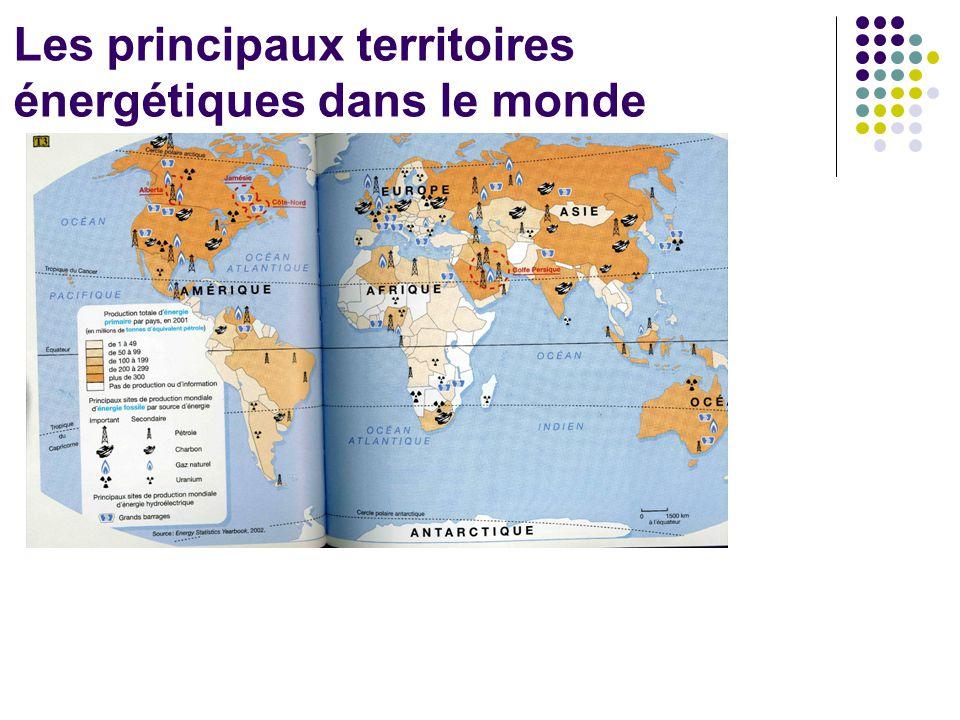 Les principaux territoires énergétiques dans le monde