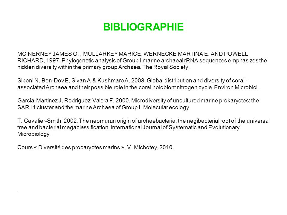 BIBLIOGRAPHIE MCINERNEY JAMES O. , MULLARKEY MARICE, WERNECKE MARTINA E. AND POWELL.