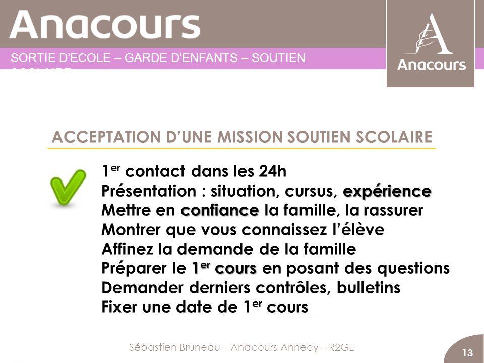 ACCEPTATION D'UNE MISSION SOUTIEN SCOLAIRE