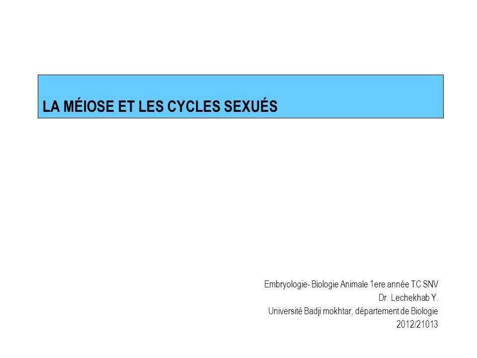 LA MÉIOSE ET LES CYCLES SEXUÉS