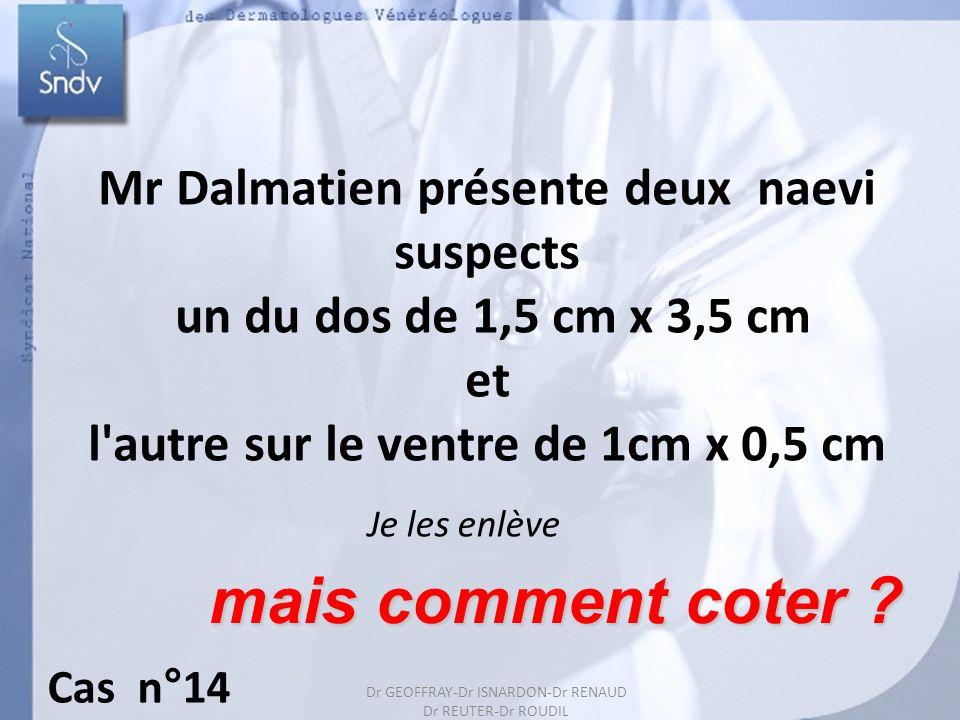 mais comment coter Mr Dalmatien présente deux naevi suspects