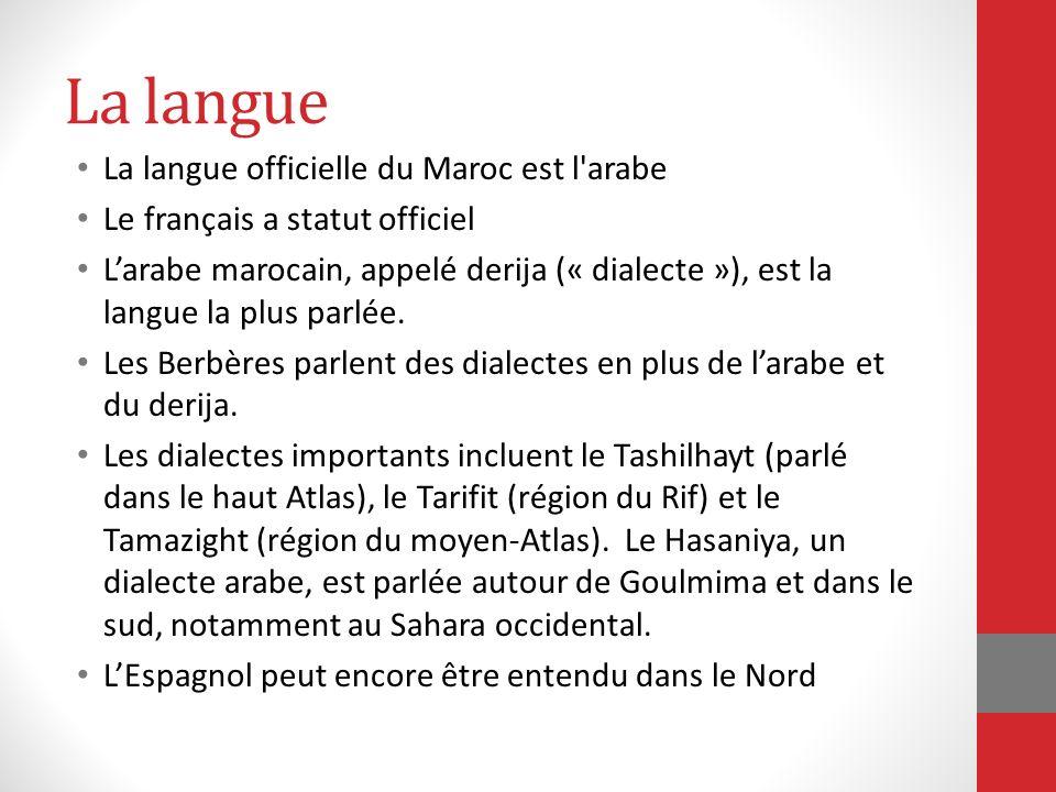 La langue La langue officielle du Maroc est l arabe