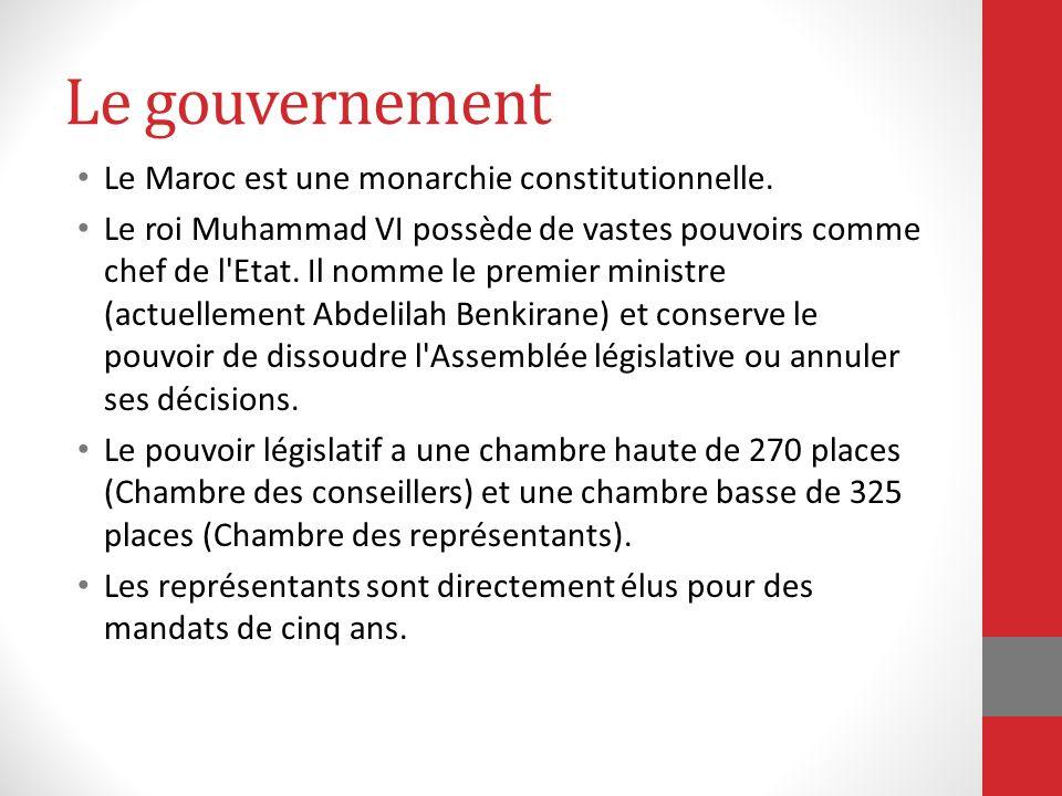 Le gouvernement Le Maroc est une monarchie constitutionnelle.