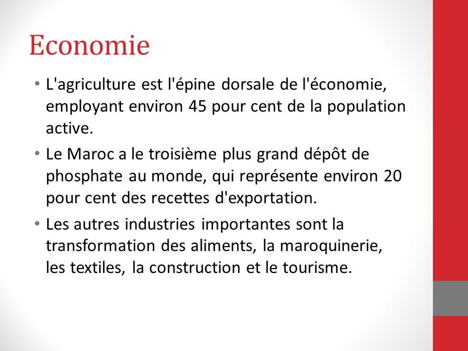 Economie L agriculture est l épine dorsale de l économie, employant environ 45 pour cent de la population active.