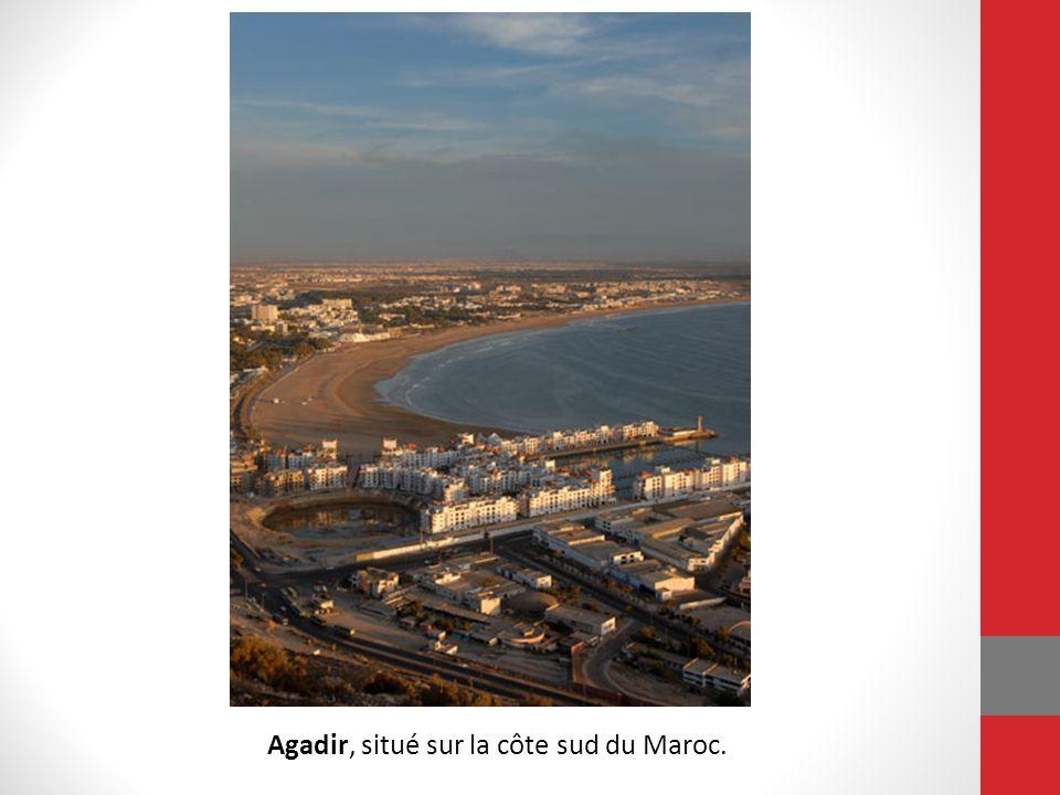 Agadir, situé sur la côte sud du Maroc.