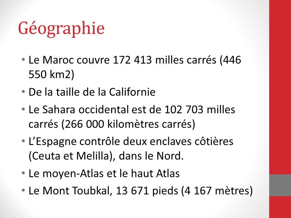 Géographie Le Maroc couvre 172 413 milles carrés (446 550 km2)