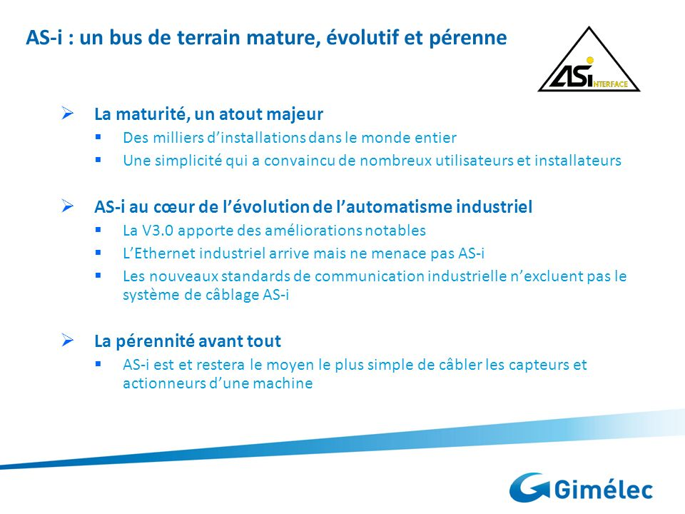 AS-i : un bus de terrain mature, évolutif et pérenne