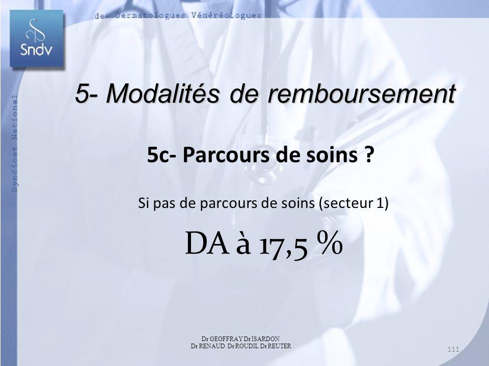 DA à 17,5 % 5- Modalités de remboursement 5c- Parcours de soins