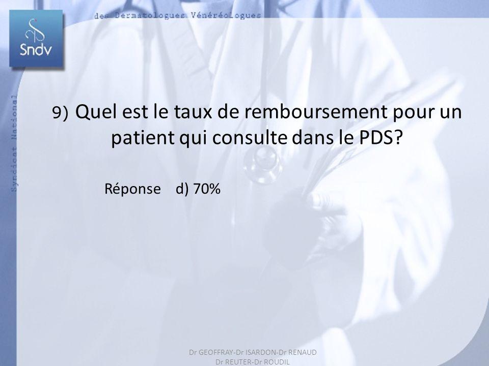 9) Quel est le taux de remboursement pour un patient qui consulte dans le PDS