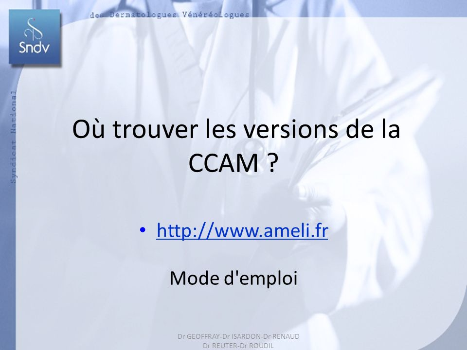 Où trouver les versions de la CCAM