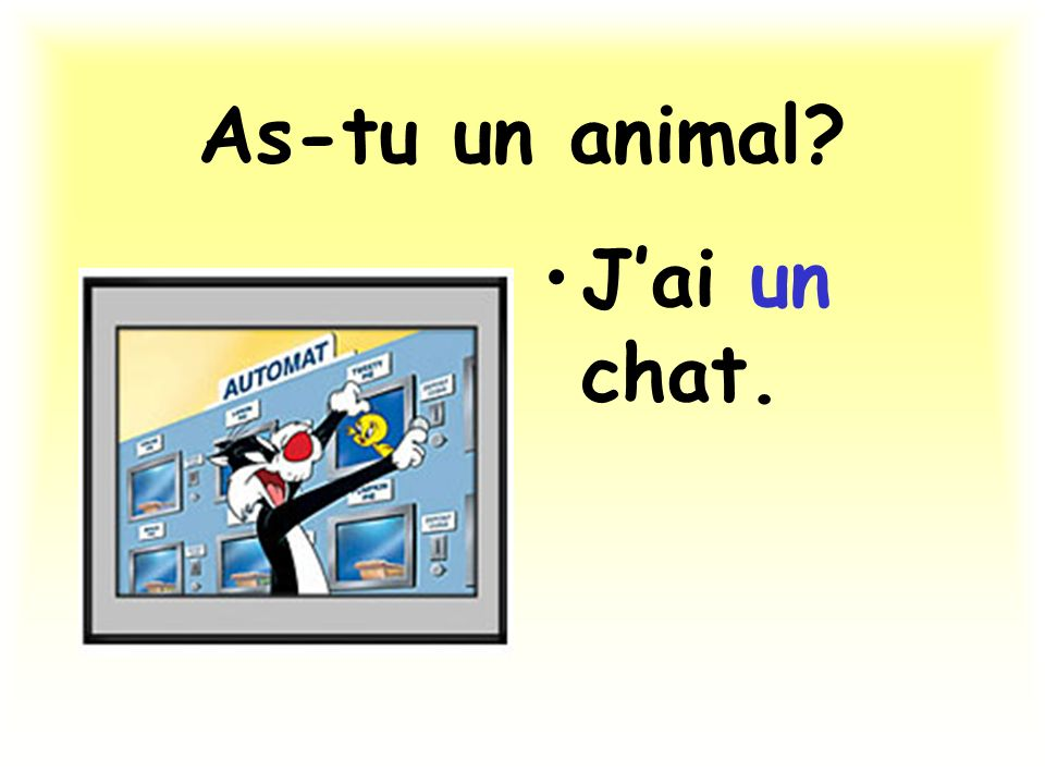 As-tu un animal J'ai un chat.